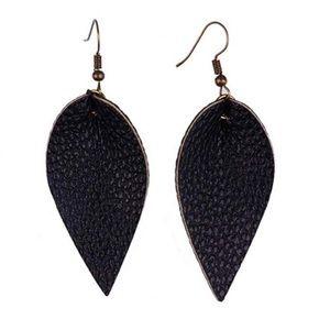 Jewelry - NWT! Black Faux Leather Teardrop Earrings